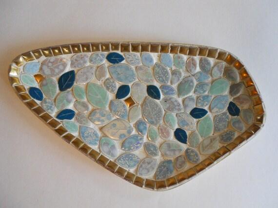 Mosaic tile tray candy dish ashtray mid century turquoise