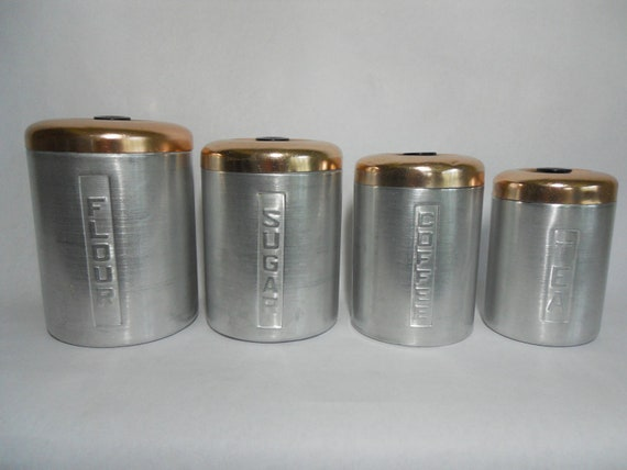 Vintage aluminum cannister set flour sugar tea coffee made in Italy