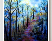 Giclee print, Landscape, Tree art, 11x14 print of woods