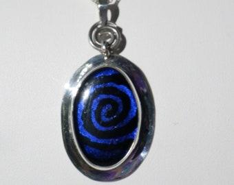 Blue dichroic swirl pendant