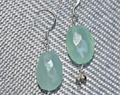 Sea Glass Green Chalcedony & Sterling Silver Earrings