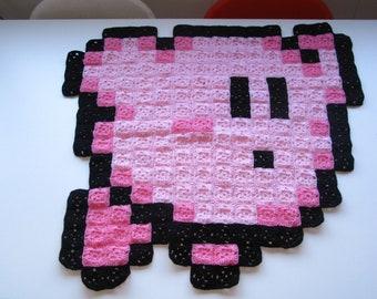 Flying Kirby 8-bit Crochet Blanket