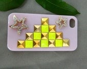 14 Color Fashion Custom Handcraft handmade  iPhone case iPhone 4 case iPhone 4s case iPhone cover Bling Crystal flower