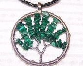 Black Friday and Cyber Monday sale - Tree Of Life Pendant - Wire Wrapped Pendant - Malachite Necklace - Wire work - Art Jewelry - green