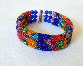 3 Strand Colorful  Multicolor Bead Crochet Bracelet - Bright Geometrics - orange - green - red - blue - pink - sky blue - grey