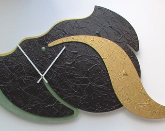 Unique Wall Clock Hand Painted High Seen Black Gold Olive Green