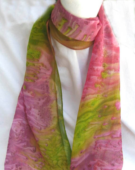 Unique Pink SILK SCARF Hand Painted in Magenta Pink, Yellow Green, Dusky Plum