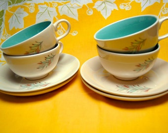 Homer Laughlin Mid Century Modern Fortune Aqua Cups and Saucers Rhythm Shape - Quaker Oats - 4 cups and saucers