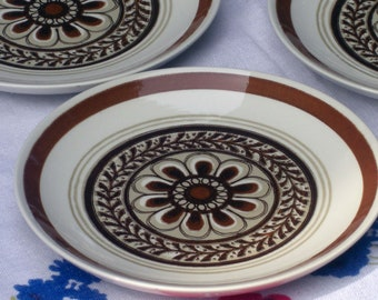 Royal USA China Cavalier Shape - Monterey Pattern - Brown Floral Bread and Butter Plates - Set of 4 (9 sets available)