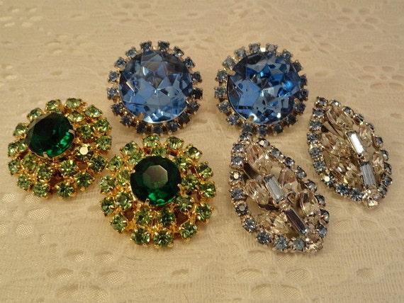 Dazzling Vintage Rhinestone Earring Jewelry Lot