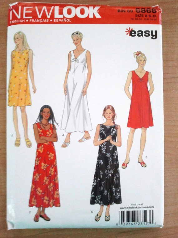 New Look 6866, Misses Day Summer Dress, Size 10, 12, 14, 16, 18, 20, 22, 24