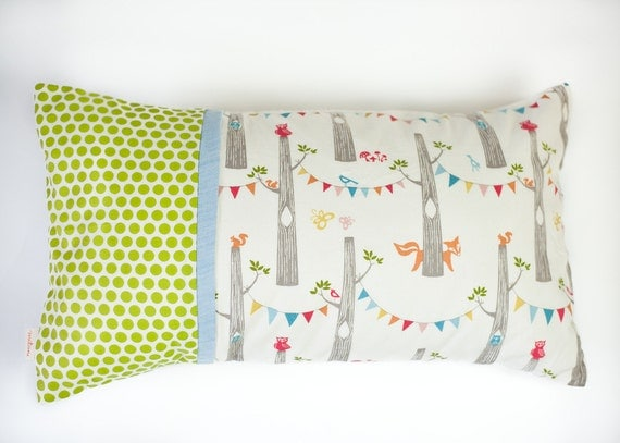modern fox party and green dots organic kids pillow