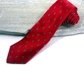 Vintage Necktie, Christian Dior All Silk Tie, Red Tie, Luxury Silk Necktie