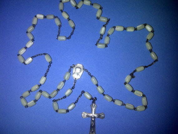 Large antique Mother of Pearl rosary with silver cross and center medal