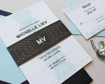 Art Deco Wedding Invitations, Wedding Invitation, Urban Chic, Classic Retro, Modern Wedding Invitation Suite - Gem Deposit