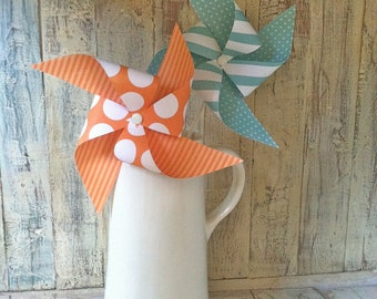 Aqua and Orange Pinwheels - Set of 8 Pinwheels