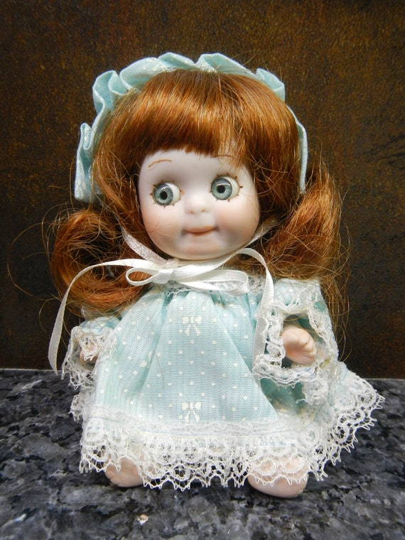 Vintage 1983 Handmade All Bisque Baby Doll in Blue