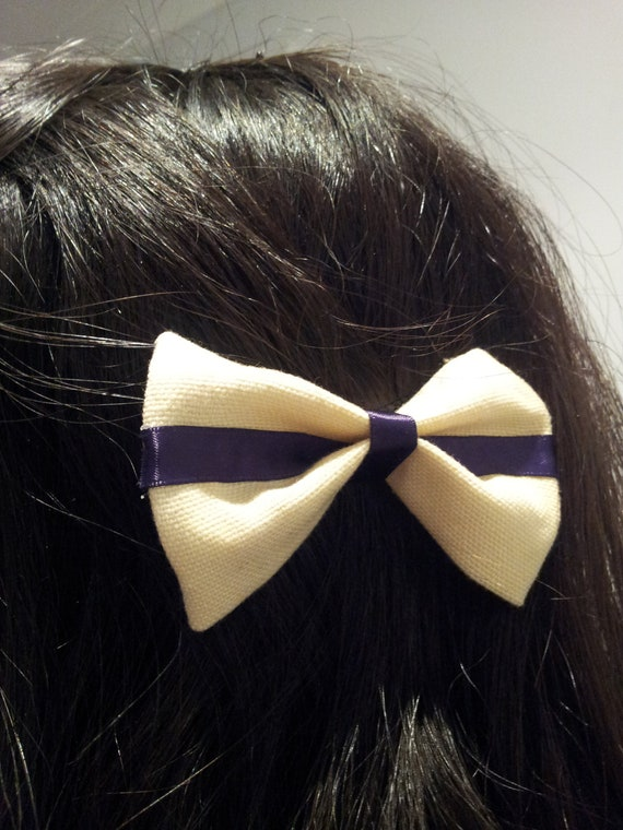 Purple Canvas Striped Bow