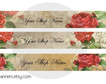 ETSY SHOP BANNERS Red Roses Etsy Shop Banner and Avatar