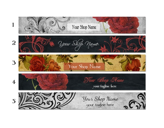 ETSY SHOP BANNERS Vintage Roses 2 Etsy Shop Banners and 2 Etsy Shop Avatars