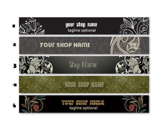 ETSY SHOP BANNERS Vintage 2 Etsy Shop Banners and 2 Avatars