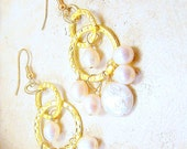 Earrings womens jewelry pierced pearl gold creamy freshwater ivory coin hammered gold chain dangle TAGT tenX