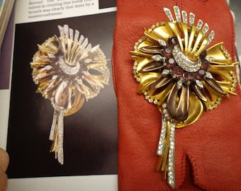 RARE Huge Signed  Reinad Flower Brooch  1940s Book Piece