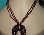 Bead and Wire work Tree of Life: Garnet on Rich Red and Gunmetal Haematite