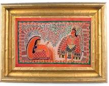 Madhubani paiting showing Sitaji in ashok vatika with lord Hanuman