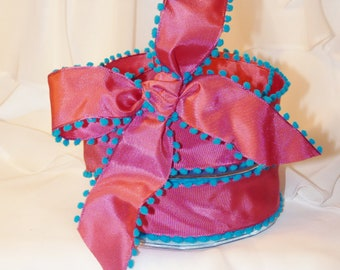 POM-POM EDGE wired RiBbOn -  Hot Pink with BlUe Pom Poms FaNcY  Wired Ribbon   Pretty Packages and Gifts - Hairbows - Giftwrap - Bows