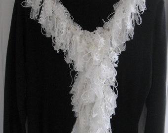 Loopy Scarf Boa, White, Lace Yarn...Handwashable...RARE!