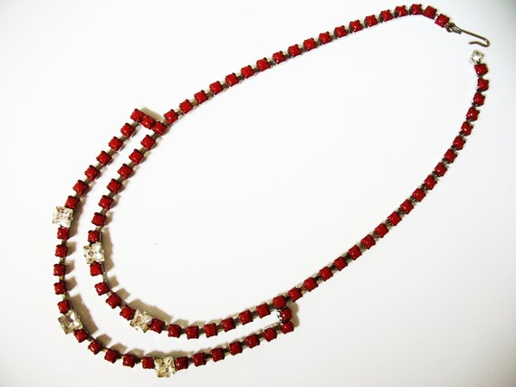 SUPER HUGE SALE used to be 37 Vintage 1950s One Of a Kind Hand Painted Red Rhinestone Necklace- Extender Available