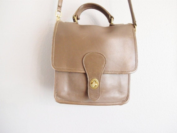 Vintage Coach Brown Leather Station Cross Body Bag
