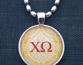 Sorority Jewelry Pendant With Chi Omega Greek House Letters Sorority Sugah Sisterhood Alumna Gift