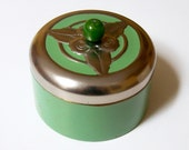 Vintage decorative tin - green - round