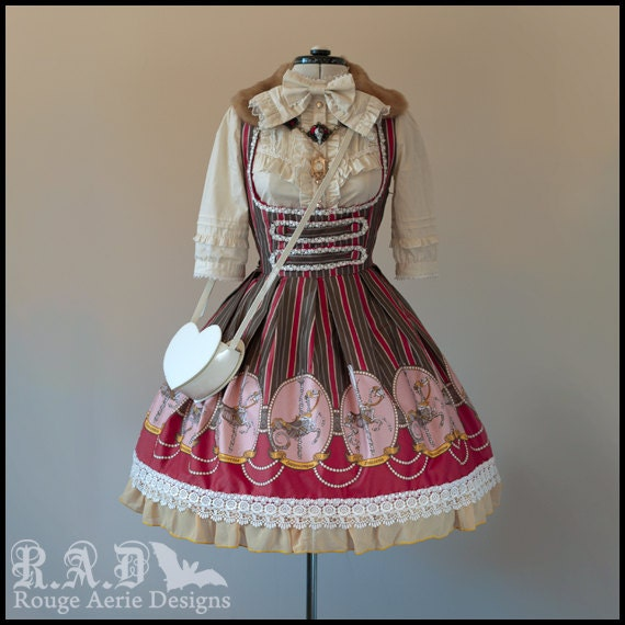 Brown Carouskel Print (Underbust JSK): Cotton lolita dress with skeletal unicorns and sea monsters