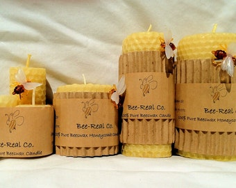 "100% Pure Beeswax Hand Rolled Honeycomb Candle 8"" x 3"""
