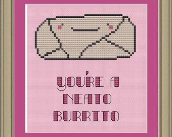 You're a neato burrito: cute cross-stitch pattern