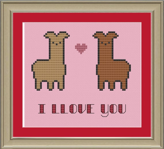 I llove you: cute llama cross-stitch pattern