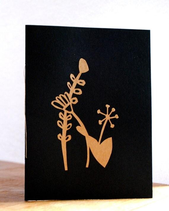 Greeting Crad flower paper cut Kraft Paper