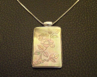 Carved Shell Spring Flower Apple Blossom .925 Stamped Sterling Silver Box Chain Necklace