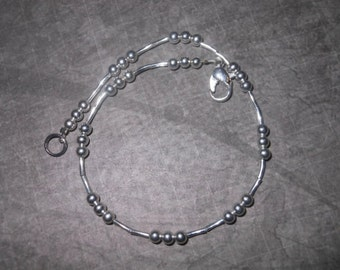 Silver Bead And Tube Anklet