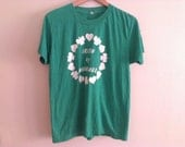 80s vintage Irish by marriage, men large funny green soft and thin tshirt eighties
