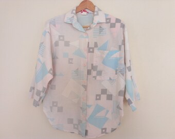 80s vintage pastel triangles and squares shirt large eighties