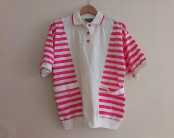 80s vintage women's medium white and pink striped shirt