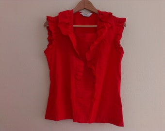 80s vintage women's large frilly red blouse