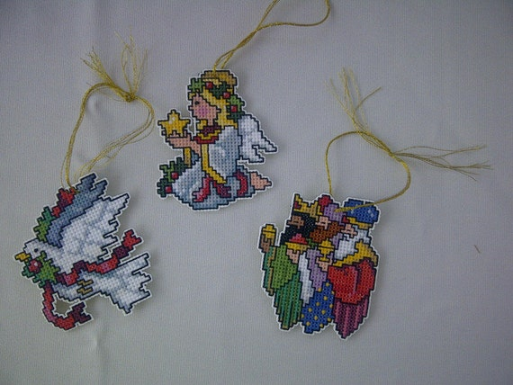 Set of 3 Hand Crafted Cross Stitch Nativity (angel, magi and dove) Christmas Ornaments
