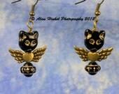 Cute Angel Cat  Earrings Flying Kitty
