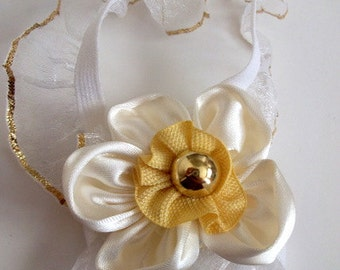 Cream Flower with gold color button Baby Barefoot Sandals- Baby Sandals - Barefoot Sandals-Handmade Baby Sandals with Cute Yoyo