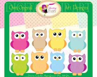 Clipart and Digital Paper Pack Cute Owls Colorful clip art Hoot designer layout digital images papers personal & commercial use pf00014-9